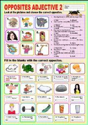 English Worksheet: Opposites Adjectives 2