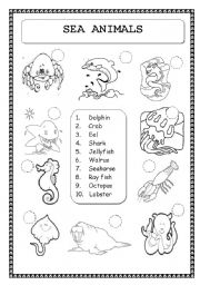 English Worksheet: ANIMALS: SEA ANIMALS