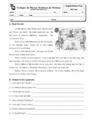 English Worksheet: Tony�s birthday - 5th year test