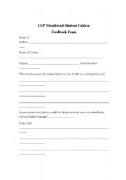 English Worksheets: LEP Monitored Student feedback forms
