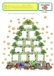 English Worksheet: CHRISTMAS TOY TREE