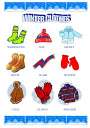 Vocabulary worksheets > Clothes > Winter clothes > Winter clothes