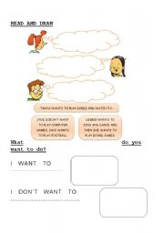 English Worksheets: I want / don�t want to do