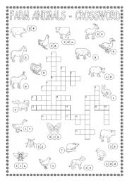 English Worksheet: FARM ANIMALS-CROSSWORD