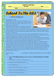SCHOOL IN THE USA - PRESENT SIMPLE READING + EXERCISES