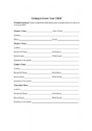 English Worksheets: student information