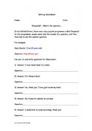 English Worksheet: Jeopardy!