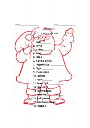 picture relating to Holiday Word Scramble Printable named xmas term scramble with ans major - ESL worksheet by means of