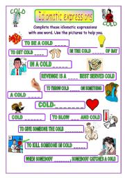 English Worksheet: Idiomatic expressions - COLD -