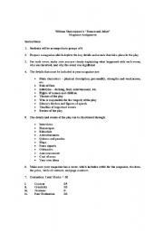 English Worksheets: Romeo & Juliet Creative Assignment