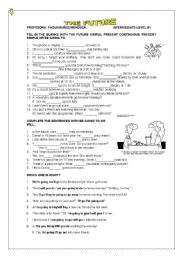 English Worksheet: ALL WAYS OF EXPRESSING  THE FUTURE: WILL, BE GOING TO, PRESENT SIMPLE AND PRESENT CONTINUOUS