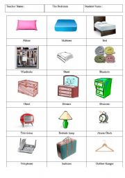 English Worksheet The Bedroom