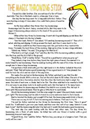English Worksheets: The MagicThrowing Stick_Reading