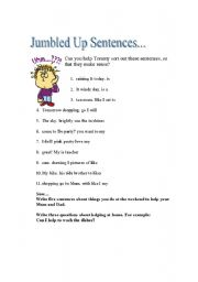 Jumbled sentences, reading comprehension - ESL worksheet by Floria