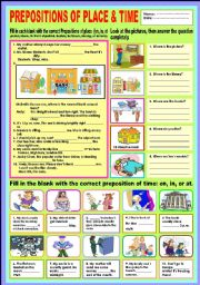 English Worksheets: Prepositions of place and time (Review)
