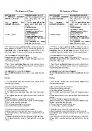 English Worksheet: the sequence of tenses