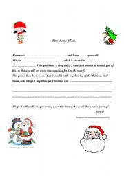 english worksheets letter to santa claus