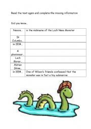 English worksheet: ACTIVITY FOR LOCH NESS MONSTER