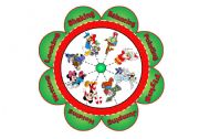 English Worksheet: Christmas Flower Puzzle with 8 Images and 8 Verbs to Match