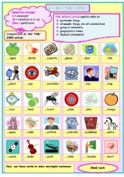 English Worksheets: a /an / zero/ the