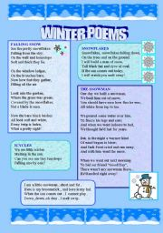 English Worksheet: Winter Poems