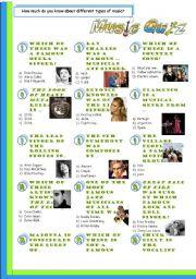 English Worksheet: Music-Quiz