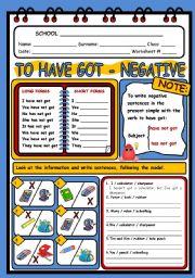 English Worksheet: HAVE GOT - NEGATIVE