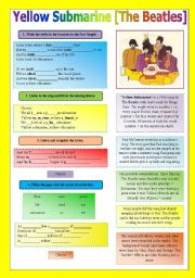 English Worksheet: SONG!!! Yellow Submarine [The Beatles] - Printer-friendly version included
