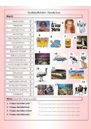 English Worksheet: Vocabulary Matching Worksheet & Quiz - AUSTRALIAN ICONS & LANDMARKS