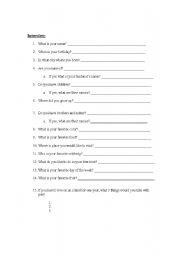 English Worksheets: Basic Interview Questions