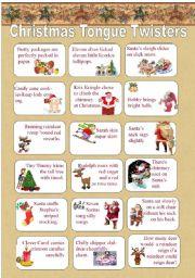 English Worksheets: Christmas Tongue Twisters