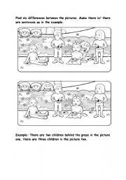 English Worksheet: Find the differences between two pictures and have fun