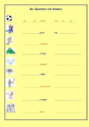 English Worksheets: Be - Questions and Answers