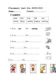 English Worksheet: animal actions&family