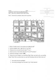 English Worksheets: Practice Reading Maps, Places in the neighborhood -Homework