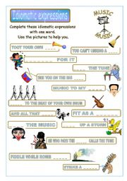 English Worksheet: Idiomatic expressions - MUSIC -