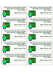 English Worksheets: Teachers� Day printable cards