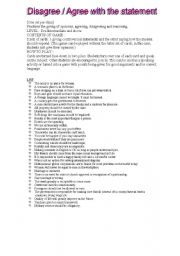 English Worksheet: AGREE DISAGREE SPEAKING ACTIVITY 1