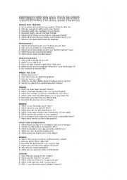 English Worksheet: Questions for oral exam practice