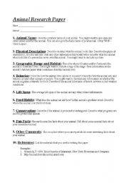 English Worksheets: animal research paper
