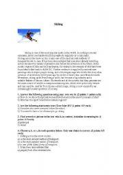 English Worksheets: Skiing, Reading Comprehension