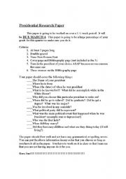 English Worksheets: president research paper