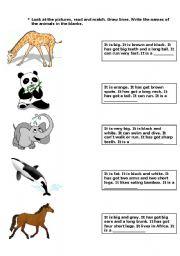 English Worksheet: ANIMAL DESCRIPTION
