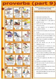 English Worksheet: PROVERBS - PART 9