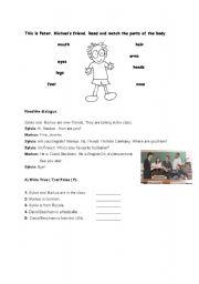 English worksheet: body parts- reading passage