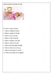 English worksheet: read and draw