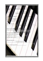 English Worksheet: A song -