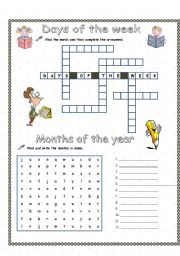 days and months answer key esl worksheet by rakelsg. Black Bedroom Furniture Sets. Home Design Ideas