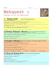 English Worksheet: Webquest : HASTINGS ( + Answer Key )