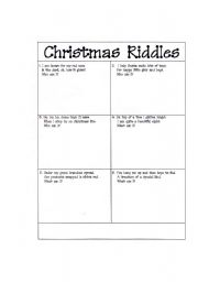 christmas riddles esl worksheet by tayshabernal. Black Bedroom Furniture Sets. Home Design Ideas